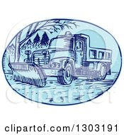 Sketched Or Engraved Snow Plow Truck On A Street