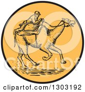 Clipart Of A Sketched Or Engraved Jockey Racing A Camel In A Circle Royalty Free Vector Illustration