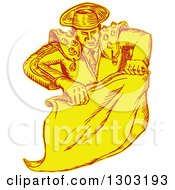 Sketched Or Engraved Spanish Bullighter Matador Holding A Cape