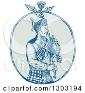 Sketched Or Engraved Scotsman Bagpiper With A Thistle In An Oval