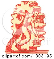 Sketched Or Engraved Factory Worker Rolling A Giant Gear Cog Wheel
