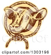 Clipart Of A Sketched Or Engraved Cow Head In A Rope Circle Royalty Free Vector Illustration