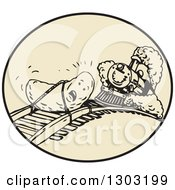 Clipart Of A Date Fruit Tied To A Track With A Steam Train Approaching In A Circle Royalty Free Vector Illustration