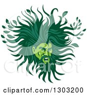 Clipart Of A Green Man With A Leafy Mane Royalty Free Vector Illustration