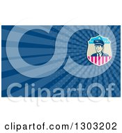 Clipart Of A Retro Male American Commercial Aircraft Pilot And Blue Rays Background Or Business Card Design Royalty Free Illustration