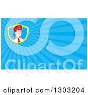Clipart Of A Retro Male Commercial Aircraft Pilot And Blue Rays Background Or Business Card Design Royalty Free Illustration