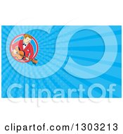 Retro Cartoon White Male Musician Playing A Guitar And Blue Rays Background Or Business Card Design