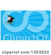 Clipart Of A Retro Condor Landing And Blue Rays Background Or Business Card Design Royalty Free Illustration by patrimonio