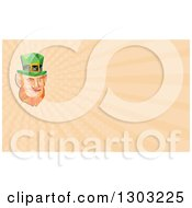 Retro Low Poly St Patricks Day Leprechaun Face And Pastel Orange Rays Background Or Business Card Design
