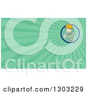 Clipart Of A Retro Cartoon White Male Construction Worker Foreman Giving A Thumb Up And Green Rays Background Or Business Card Design Royalty Free Illustration