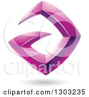 Clipart Of A 3d Shiny Abstract Floating Sharp Magenta Letter A With A Shadow On White Royalty Free Vector Illustration by cidepix