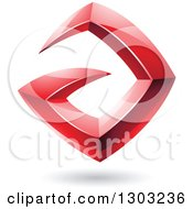 Clipart Of A 3d Shiny Abstract Floating Sharp Red Letter A With A Shadow On White Royalty Free Vector Illustration by cidepix