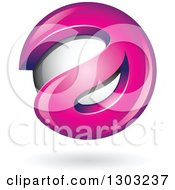 Clipart Of A 3d Shiny Abstract Pink Letter A Around A Floating Sphere With A Shadow On White Royalty Free Vector Illustration