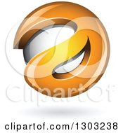 Clipart Of A 3d Shiny Abstract Orange Letter A Around A Floating Sphere With A Shadow On White Royalty Free Vector Illustration