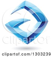 Clipart Of A 3d Shiny Abstract Floating Sharp Blue Letter A With A Shadow On White Royalty Free Vector Illustration