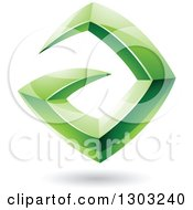 Clipart Of A 3d Shiny Abstract Floating Sharp Green Letter A With A Shadow On White Royalty Free Vector Illustration