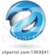 Clipart Of A 3d Shiny Abstract Blue Letter A Around A Floating Sphere With A Shadow On White Royalty Free Vector Illustration