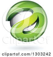 Clipart Of A 3d Shiny Abstract Green Letter A Around A Floating Sphere With A Shadow On White Royalty Free Vector Illustration
