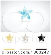 Clipart Of Different Colored Ice Star Logos With Shadows Royalty Free Vector Illustration by cidepix