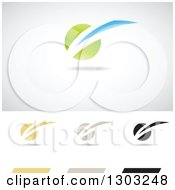 Clipart Of Abstract Light Struck Logos With Shadows Royalty Free Vector Illustration