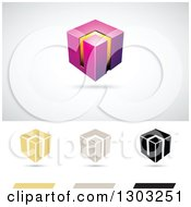 Clipart Of A 3d Floating Magenta And Orange Smart Cube Over Flat Versions With Shadows Royalty Free Vector Illustration