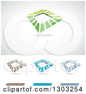 Clipart Of Abstract Tilted Frame Works Logos With Shadows Royalty Free Vector Illustration by cidepix
