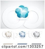 Clipart Of Cloud Weather Or Computing Logos With Shadows Royalty Free Vector Illustration