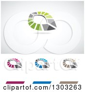 Clipart Of Abstract Colorful Sharp Eye Logos With Shadows Royalty Free Vector Illustration