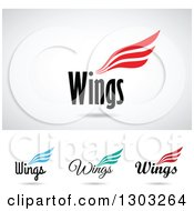 Colorful Three Lined Wings Designs With Text And Shadows