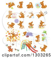 Clipart Of Brown Playful Puppy Dogs Royalty Free Vector Illustration