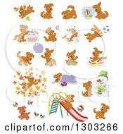 Clipart Of Cartoon Brown Playful Puppy Dogs Royalty Free Vector Illustration
