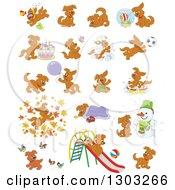 Cartoon Brown Playful Puppy Dogs