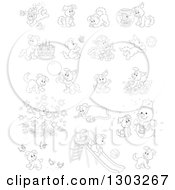 Lineart Clipart Of Black And White Playful Puppy Dogs Royalty Free Outline Vector Illustration