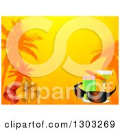 Clipart Of A Tropical Vacation Background With Cocktails Sunglasses Hibiscus Flowers Sunshine And Palm Trees Royalty Free Vector Illustration