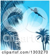 Clipart Of A Silhouetted Airplane Over Palm Trees And Sunshine On Blue Royalty Free Vector Illustration