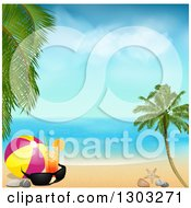 Clipart Of A Cocktail With A Ball And Sunglasses On A Tropical Beach On A Beautiful Day Royalty Free Vector Illustration by elaineitalia
