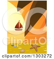 Clipart Of A Starfish Shell And Pebbles On A Beach With A Palm Branch And Sailboat At Sunset Royalty Free Vector Illustration by elaineitalia