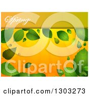 Clipart Of A Spring Time Background With A Text Panel And Green Leaves With Flares Over Orange Rays Royalty Free Vector Illustration