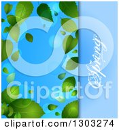 Clipart Of A Spring Time Background With A Text Panel And Green Leaves With Flares Over Blue Royalty Free Vector Illustration