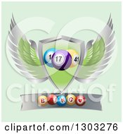 Clipart Of 3d Bingo Balls On A Metal Banner Under A Winged Shield On Green Royalty Free Vector Illustration