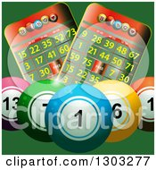 Clipart Of 3d Colorful Bingo Balls With Cards On Green Royalty Free Vector Illustration