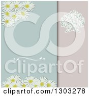 Clipart Of A Daisy And Floral Divided Pastel Invitation Background Royalty Free Vector Illustration
