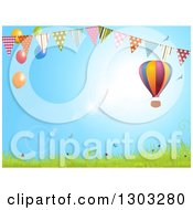 Clipart Of A Colorful Hot Air Balloon Over A Spring Landscape With A Bunting Banner And Party Balloons Royalty Free Vector Illustration by elaineitalia