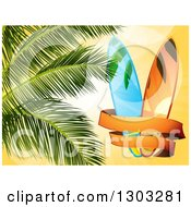 Clipart Of A Vintage Banner Around Surf Boards With Palm Tree Branches Over Orange Sunshine Royalty Free Vector Illustration