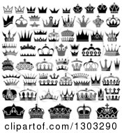 Clipart Of Black And Whtie Unique Crowns Royalty Free Vector Illustration