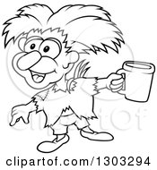 Lineart Clipart Of A Black And White Cartoon Beggar Sprite Holding A Cup Royalty Free Outline Vector Illustration