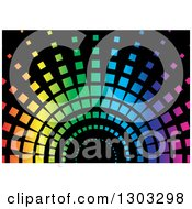 Clipart Of A Colorful Gradient Arch On Black Background Royalty Free Vector Illustration by dero