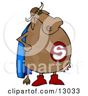 Super Cow With A Blue Cape And Udders Clipart Illustration