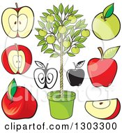 Clipart Of Red Black And White And Green Apples And A Tree Royalty Free Vector Illustration by Any Vector