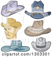 Clipart Of A Cowboy And Hats Royalty Free Vector Illustration